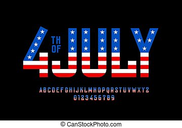 4th of July USA flag style font