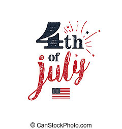 4th of July. USA Independence Day. 4th of July typography...