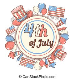 4th of July USA Independence Day Hand Drawn Design. National American Holiday. Vector illustration