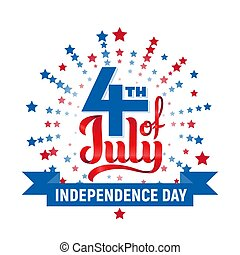4th of July. USA Independence day. Red and blue vector lettering isolated on white background