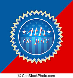 4th of July with american flag - retro label