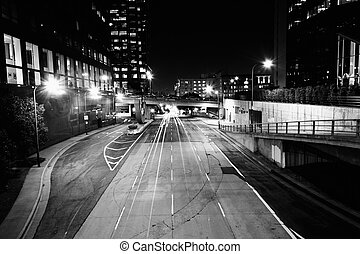 4th Street at night, in downtown Los Angeles, California.