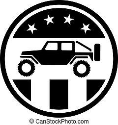 4wd, 道, ロゴ, 離れて, 愛国心が強い