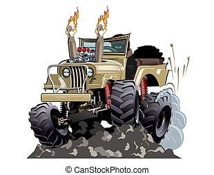 4x4, 棒, ベクトル, 自動車, 隔離された, 暑い, 漫画