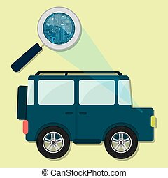 4x4 car, magnifying glass and electronics