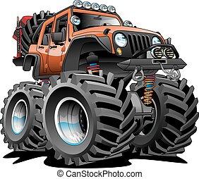 4x4, el, karikatúra, út, jármű