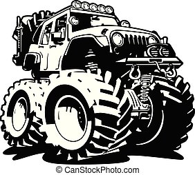 4x4 Off Road Black and White Cartoon Isolated Vector Illustration