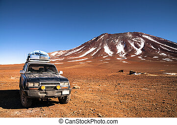 4x4 off-road journey - 4x4 offroad vehicle in the middle of...