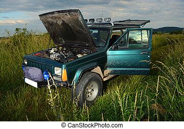 4x4 offroad truck on meadow