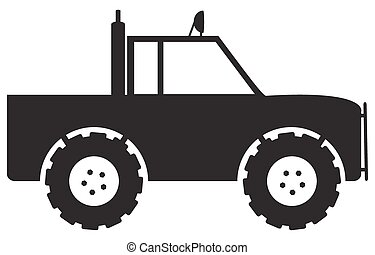 4x4 Silhouette - A 4x4 truck silhouette isolated on a white...