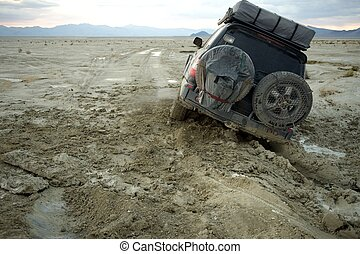 4x4 stuck in mud, Nevada, US - 4x4 or truck off-road and...