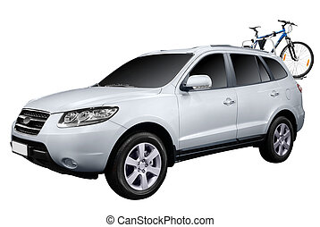 4x4 suv with bicycle isolated