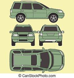 4x4, todos, forma, coche, daño, vista, cuatro, informe, alquiler, vista, camión, línea, empate, cianotipo, condición, suv