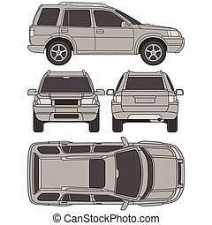4x4, tutto, forma, automobile, danno, vista, quattro, relazione, affitto, vista, camion, linea, disegnare, cianografia, condizione, suv