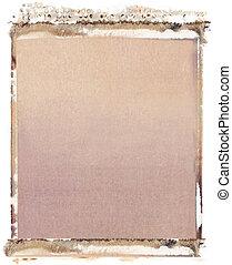 Blank 4x5 format polaroid transfer on white background