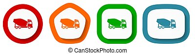 Concrete mixer, truck, vehicle conept vector icon set, flat design buttons on white background