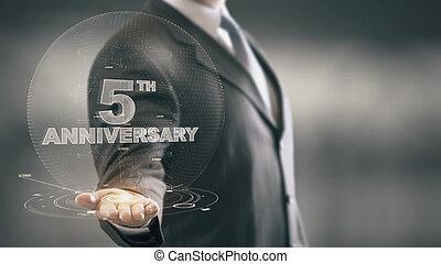 5ème, anniversaire, main, cinq, tenue, homme affaires, nouveau, technologies