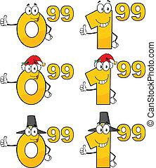 5, étiquette, ensemble, coût, collection, nombres