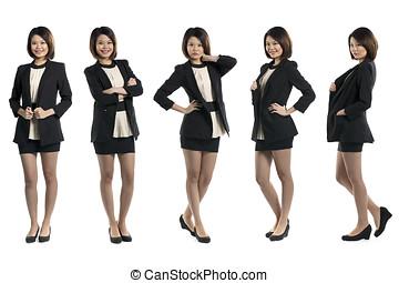 5, полный, длина, portraits, of, тоже самое, китайский, woman.