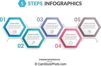 5, ステップ, infographics