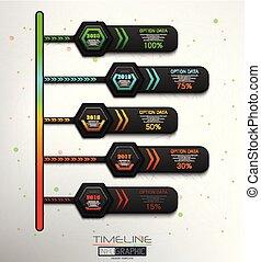5, タイムライン, infographic, ステップ, 要素