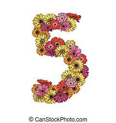 5, ディジット, 作られた, の, 多彩, ヒナギク, flowers., 花, 要素, の, カラフルである, アルファベット, 作られた, から, flowers., ベクトル, イラスト