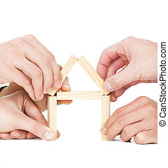 5, ビジネスマン, 手, 建物, 家, によって, 木製のブロック