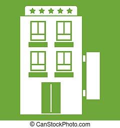5, ホテル, 星, 緑, アイコン