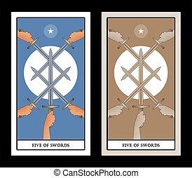 5, 交差, イメージ, 剣, swords., 太陽, 象徴的
