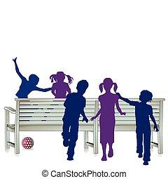 5, 子供, 公園のベンチ