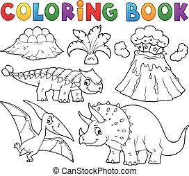 5, 本, 恐竜, イメージ, 着色, 主題