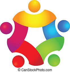 5, 色, 概念, チームワーク, ロゴ