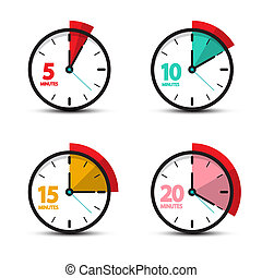 5, 10, 15, 20 Minutes Analog Clock Icons. Vector Time...