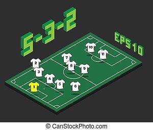 5-3-2, champ, isométrique, formation, football