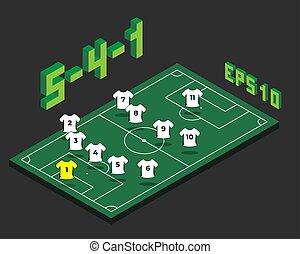 5-4-1, champ, isométrique, formation, football