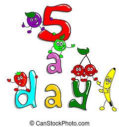 5, a, tag, gesundes essen, karikatur
