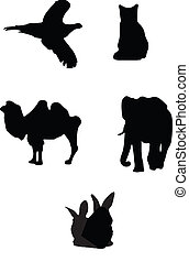 5 animal silhouettes