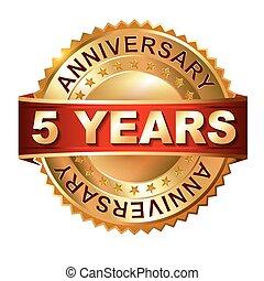 5, anni, anniversario, dorato, etichetta, wi