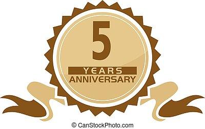 5, anos, fita, aniversário