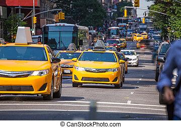 5, av, żółty, fift, taksówka, nowy, aleja, manhattan, york