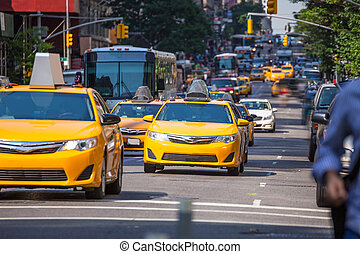 5, av, giallo, fift, taxi, nuovo, viale, manhattan, york