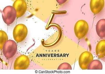 5, banner., célébration, années, anniversaire