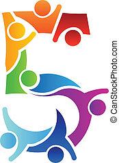 5, beeld, teamwork, getal, logo