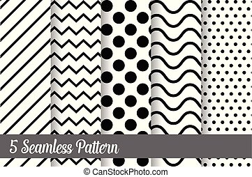 5 Black and white seamless pattern set vector background illustration