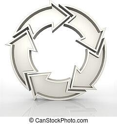 5, blanc, flèches, cercle
