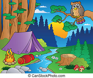 5, caricatura, paisaje, bosque