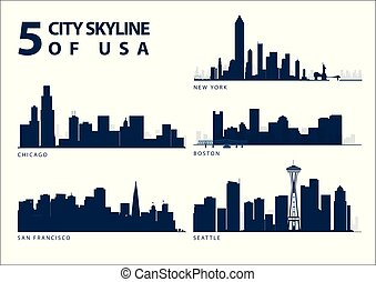 5 City Skyline of USA