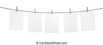 5 clean sheets on clothesline with clothespins isolated on...