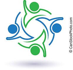 5, collaboration, salut, gens, image., icône, vecteur, groupe, celebration., union, concept