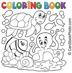 5, coloração, animais, livro, mar